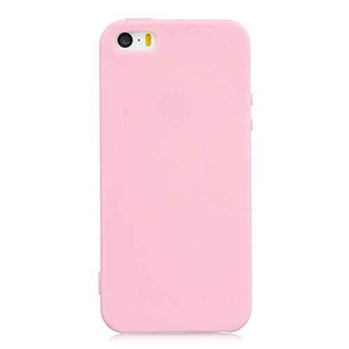 cuzz Custodia iPhone 6/6S+{Film di Vetro temperato}Silicone TPU Cover Morbida Protettiva Custodia Ultra Sottile Leggero Cover-Rosa Scuro