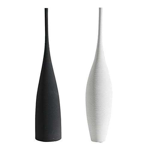 Baoblaze Jarrones de cerámica modernos decoración de estilo minimalismo nórdico para centros de mesa, cocina, oficina o sala de estar, floreros decorativos (Bianco+nero)