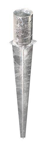 GAH-ALBERTS 211462 Ancre poteaux en Bois Ronds | Acier Brut, galvanisé, à enfoncer | Ø121 mm | Langeur 750 mm
