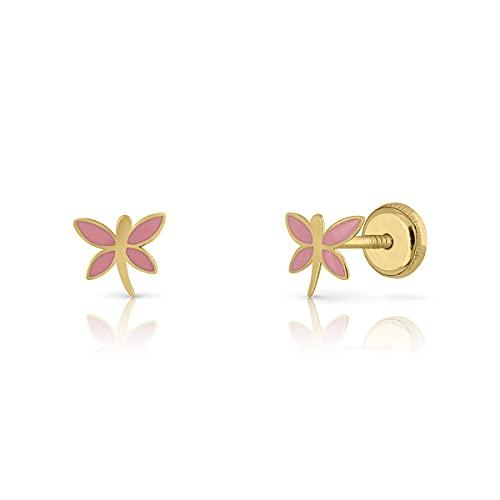 Pendientes Oro de Ley Certificado. Niña/Mujer. Cierre de seguridad. Medida 6x7 mm. (1-4647-6) ROSA