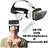 3D VR Headset Glasses, Tsanglight Virtual Reality Headset with 3D Headphones & Remote Compatible for iOS iPhone XR XS X 8 7 6 6S Plus, Android Samsung Galaxy S9 Edge/S9/S8 Edge/S8/S7 Edge/S7/S6/A5