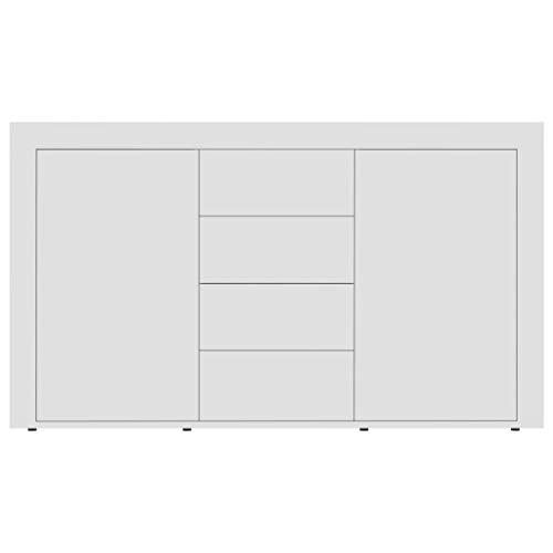 Aparador Moderno con 2 Puertas y 4 cajones, 120 x 36 x 69 cm, Mueble Aparador Cómoda para Pasillo, Sala de Estar, Comedor, Blanco