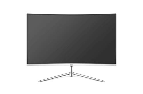 AOC 27-inch Curved 1700R LED Monitor with HDMI/VGA Port/Display Port/Earphone, Full HD, Tilt Adjustment, Wall Mountable - C27V1Q/WS (Glossy White)