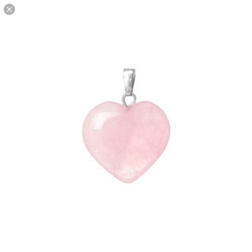 Colgante corazón amor en Cuarzo Rosa - AMULETO atracción Amor