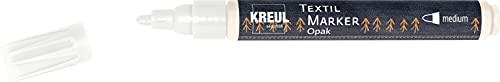 Kreul 92760 - Textil Marker Opak medium, weiß, mit Rundspitze, Strichstärke circa 2 bis 4 mm, deckender Stoffmalstift zum Gestalten von hellen und dunklen Stoffen, waschecht nach Fixierung