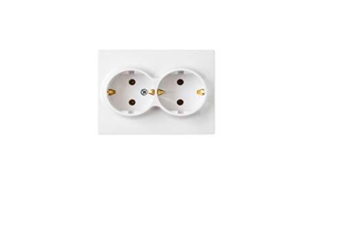 Unterputz Steckdose mit Rahmen IP20, Weiß, mit Erdung (2-fach)