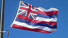 Bandera Hawai 70 x 100 cm de poliéster náutico de 115 g/m² con doble pliegue perimetral, cuerda y revestimiento. Apta tanto para entrada y salida