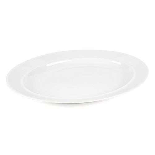 Alessi 1110308 Large Porcelain Serving or Antipasti Platter, 36 cm   Dishwasher Safe   for Domestic & Commercial Use, Cream, Single