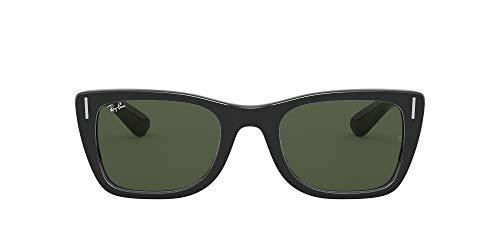 Ray-Ban RB2248 Caribbean Rectangular Sunglasses, Shiny Black Green, 52 mm