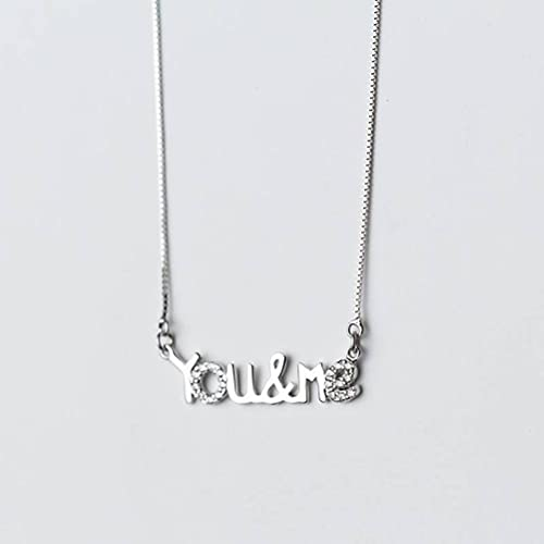 BEWITCHYU Collar de Plata S925, Damas Inglesas Tú Y Yo Cadena de Clavícula Simple Cortacollar de plata s925