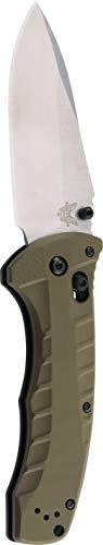 Benchmade – Turret 980, cuchillo plegable EDC, hoja de punto caído, apertura manual, mecanismo de bloqueo de eje, fabricado en Estados Unidos, satinado, recto