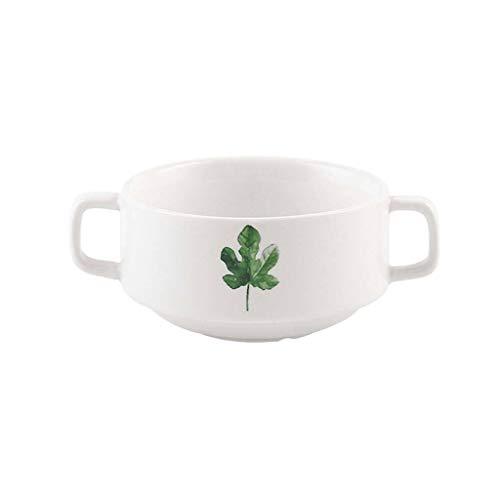 JLWM Cuenco para Sopa con 2 Asas, 300ML Cuencos para Sopa con Asas De Porcelana Cerámico Microonda Cocina Jarra Taza Plantar Flores para Gachas De Avena Desayuno Postre-E