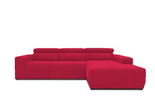 DOMO collection Brandon Ecksofa, Sofa mit Rückenfunktion in L-Form, Polsterecke, Eckgarnitur, rot, 288 x 228 x 80 cm