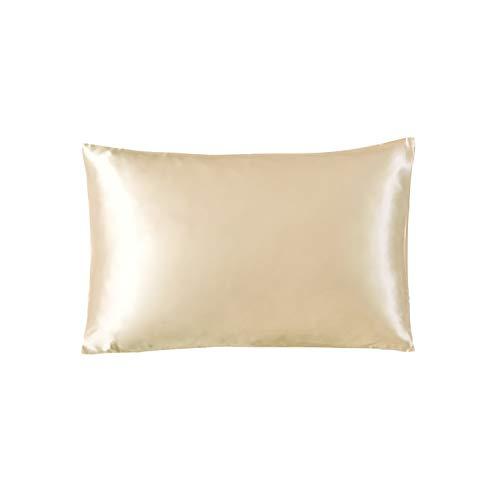 THXSILK Luxus 100% 19 Momme Seide Kissenbezug Kissenhülle mit Reißverschluss - Seide Kissen Bezug - Super Weich und Glatt Seidenkissenbezug (40x80cm, Champagner)