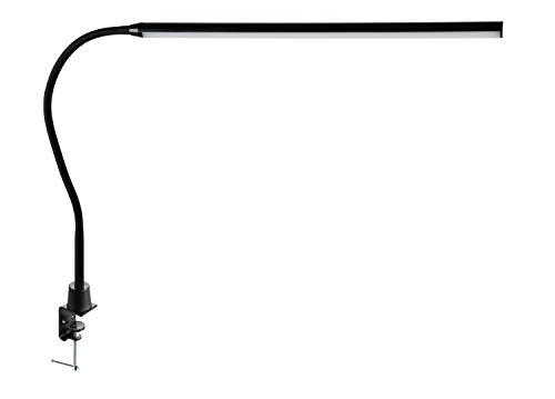 ALCO-Albert 936-11 – LED skrivbord/arbetsplats lampa med bordsklämma, svart, dimbar i 3 steg, på- och avstängningsbrytare, 56 lysdioder, plast, 10 watt, ca 60 x 2,5 x 50 cm