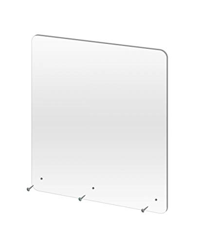 Clear Acrylic Sneeze Safety Guard and Splash Shield, Store Countertop, Restaurant, Reception desk (24 Inch x 30 Inch Hanging)