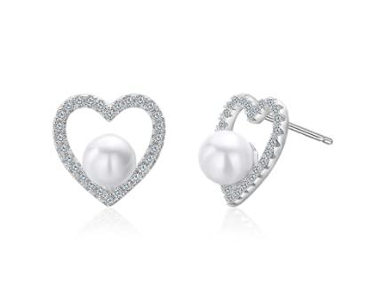 Pendientes de corazón con perla de agua dulce, circonita brillante, plata de ley 925, regalo de Navidad, regalo de cumpleaños para mujeres, pareja o aniversario