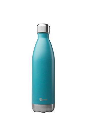 QWETCH - Bouteille Isotherme INOX 750ml - Maintient Vos Boissons au Chaud Pendant 12 Heures & au Frais Pendant 24 Heures – BPA Free - Bleu Turquoise
