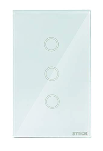 "Interruptor Inteligente Smarteck 4X2"" 3 Módulos Bivolt Touch Wi-fi Branco, compatível com Alexa"