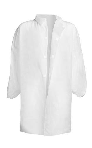 Tecno Hospital Camice Monouso chiusura a strappo in TNT confezione da 5 pezzi Bianco Anallergico Idrorepellente prodotto italiano