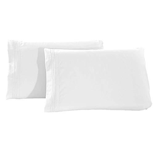 Aroncent – Juego de 2 fundas de almohada – 50 x 66 cm – Fundas de cojín transpirables y lavables, color blanco