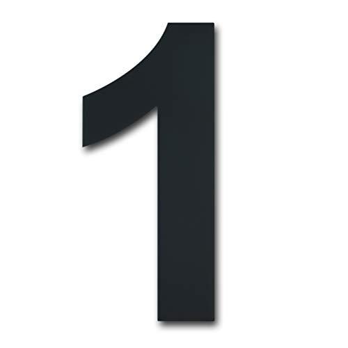 Gebürsteter moderner Edelstahl Hausnummer-203mm hoch-schwarze Beschichtung, schwebende Erscheinung (Nummer 1)