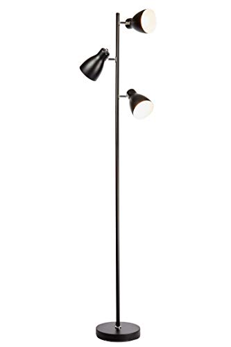 B.K.Licht Lampada da terra vintage industriale, piantana elegante retrò, nero e bianco all'interno, adatta per lampadine E27 non incluse, altezza 166cm, lampada a stelo, interruttore a pedale, IP20