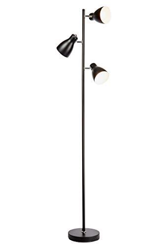 Lampada da terra vintage industriale, piantana elegante retrò, nero e bianco all'interno, adatta per lampadine E27 non incluse, altezza 166cm, lampada a stelo, interruttore a pedale, IP20