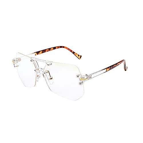 LUOXUEFEI Gafas De Sol Gafas De Sol Sin Montura Para Mujer Gafas De Sol Sombras Gris Azul Lente Transparente Hombre Gafas Sin Marco