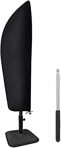 Nifogo Ampelschirm Schutzhülle mit Stab für 3-3,5m /300 cm-350cm Sonnenschirm Abdeckung,Outdoor Regenschirm Abdeckung -Schwarz (210D) Asserdichte, Anti-UV (280X 30 X...