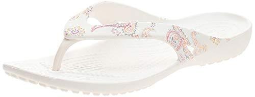Crocs Kadee II Graphic Flip Flops   Sandals for Women, Paisley Floral/White, 4