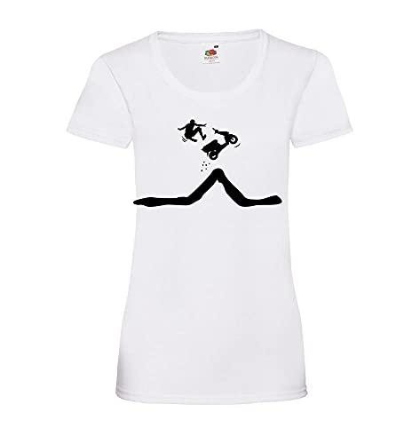 Shirt84.de - Camiseta para mujer con texto en alemán 'Roller Sprung mit Abstieg des fahrers Lady-Fit', Blanco, M