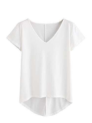 DIDK T-Shirt Damen V- Ausschnitt, Damen Kurzarmshirt Einfarbig Tops Casual Oberteile Asymmetrisch Locker Sommer Shirts Tunika Top Reines T-Shirts Weiß L