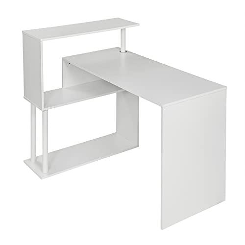 WOLTU Mesa de Ordenador Escritorio Mesa de Trabajo PC Mesa Portátil con Estantes Laterales MDF y Acero 120x80x97cm (WxDxH) Blanco TS108ws