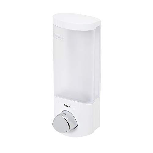 COMPACTOR Dispenser Sapone da Muro, 360 ml, Plastica Bianca con Pulsante Cromato, RAN6013