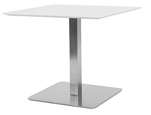 TENZO 3702–001Chill Quadrat Tisch Holz/MDF/Stahl weiß/Stahl 70x 70x 75cm