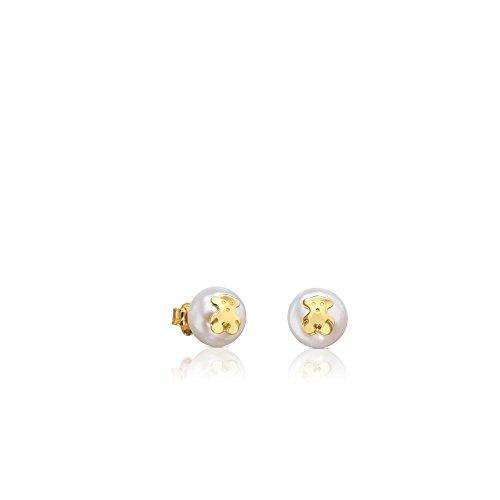 TOUS Bear - Pendientes de oro amarillo de 18kt con perla cultivada de agua dulce de 0,9 cm. y cierre presión