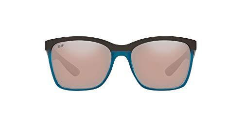 Costa Del Mar Women s Anaa Polarized Rectangular Sunglasses, Sea Glass Ocearch Copper Silver Mirrored Polarized-580P, 55 mm