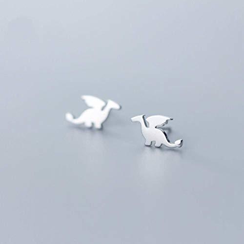 Katylen S925 Silber Ohrringe Weibliche Japanische Einfache Mode Kleine Drachen Niedlich Persönlichkeit Anime Tier Ohrringe Schmuck, Silver