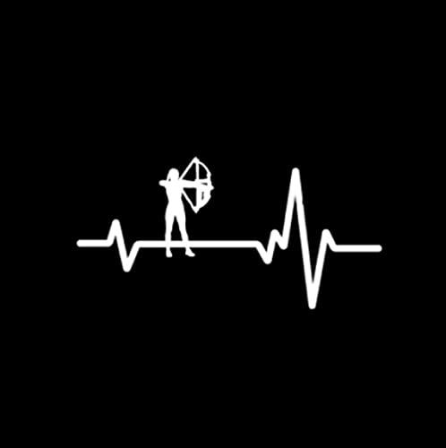Cbhsjinsuxha 4 Uds Pegatinas de Coche 11.9 CM * 6 CM línea de latidos del corazón Tiro con Arco Mujer Arco Flecha Vinilo calcomanía Pegatina de Coche