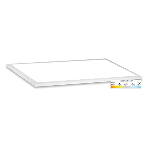 NuWatt 1x2 LED Surface Mount Panel 22W - Built in Internal Driver, 5 CCT 2700K, 3000K, 3500k, 4000K, 5000K, Triac Dimmable, Ultra Thin Ceiling Fixture, 120-277V, 1 inch Thick