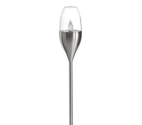 Dehner Solarleuchte Dorina, Ø 8.5 cm, Höhe 128 cm, Edelstahl/Kunststoff, Silber