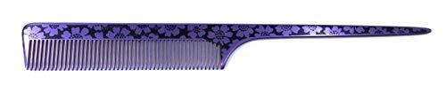 Swedish Crown Peigne à boucler professionnel en aluminium - 21 cm (antistatique) - Violet/noir - Avec denture uniforme (2252-9)