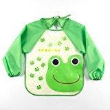 Zantec Unisex Infant Toddler Baby Waterproof Sleeved Bib Green Dinosaur