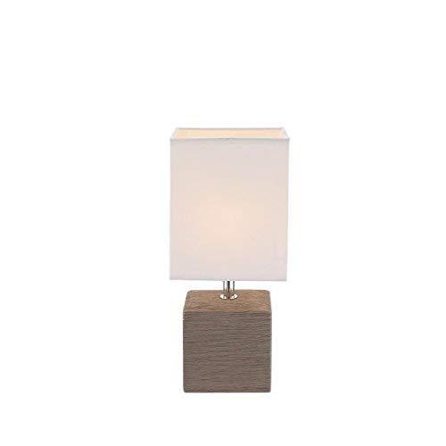 Tafel lamp logeerkamer keramiek bruin schakelbaar textiel lamp wit Globo 21677