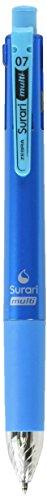 Zebra Multi Function Surari Black/Red/Blue/Green Ink 0.7mm Ballpoint Pen, 0.5mm Mechanical Pencil, Light Blue Body (B4SA11-LB)