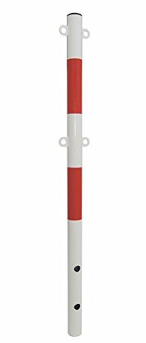 Absperrpfosten rot - weiß Ø60mm 4 Ösen zum Einbetonieren Poller NEU