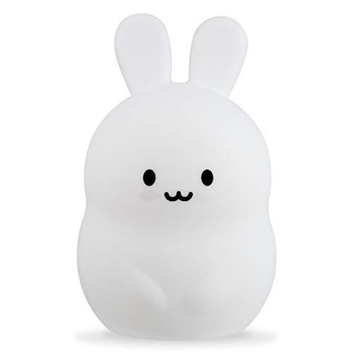 Xtralite Luz nocturna de silicona para niños con 9 modos de cambio de color, portátil, recargable y control remoto, conejo (grande)