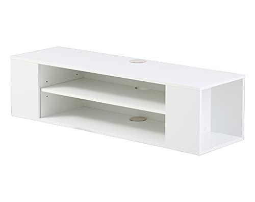 FITUEYES Meuble TV Suspendu Blanc pour Télévisions 32-55 Pouces, Meuble TV Mural Design avec 4 Compartiments Ouverts pour/DVD/CD/AV Meuble de Style Scandinave 100 x 30 x 26 cm Charge Max 25 kg