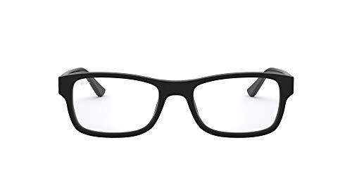 Ray-Ban RX5268 Rectangular Prescription Eyeglass Frames, Matte Black/Demo Lens, 50 mm